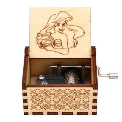 Beautiful Engraved Wooden Hand Crank Music Box