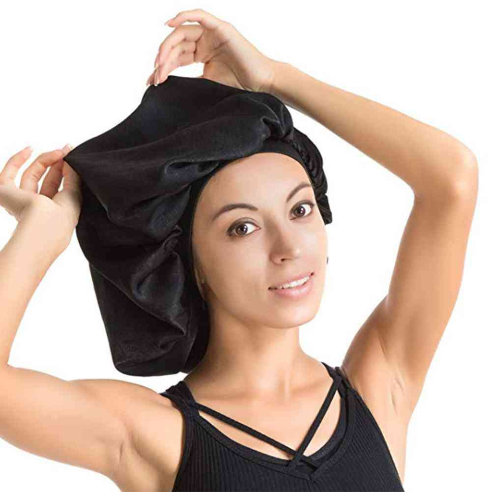 High Quality Super Giant Waterproof Shower Hair Care Cap - Luxurious Fabric Premium Large Satin Silk Bonnet Sleep Cap