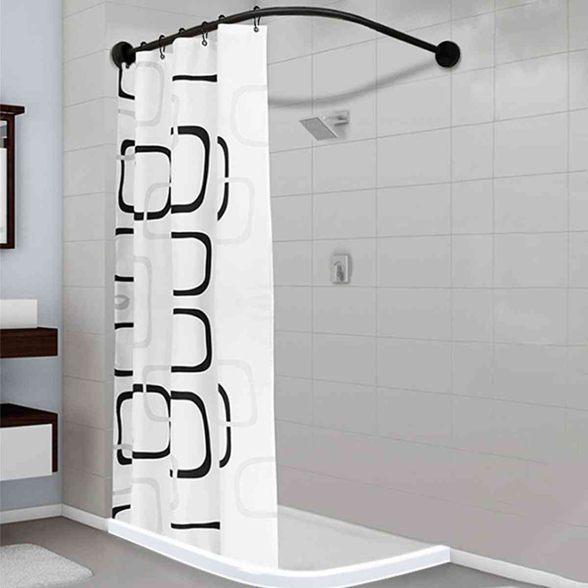 Extendable Corner Black Stainless Steel Shower Curtain Rod Pole With Metal Hooks
