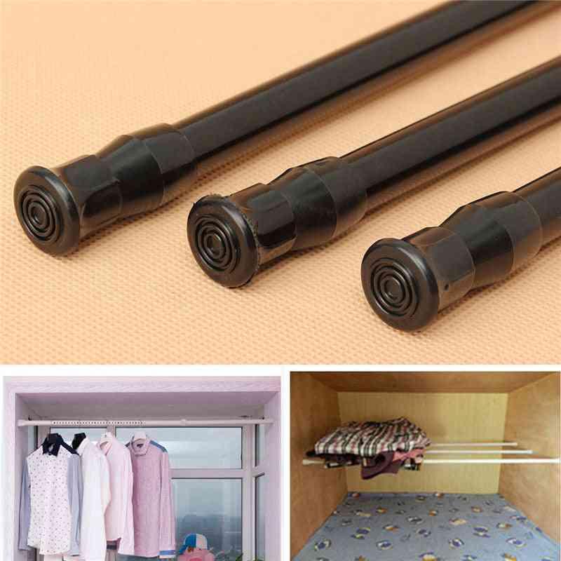 Black Extendable Adjustable Spring Tension Window Curtain Rod Rail Pole