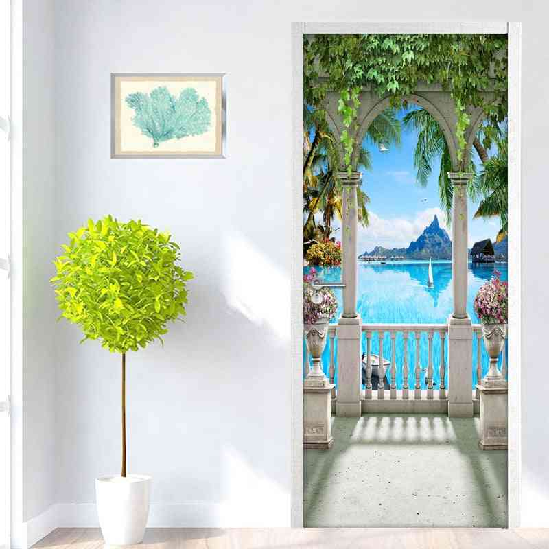 3d Modern Balcony Landscape Door Mural Wallpaper