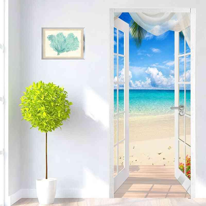 Window Sandy Beach Seascape - 3d Photo Pvc Self Adhesive Door Sticker / Wallpaper