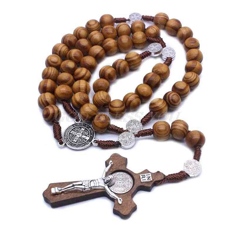Fashion Handmade Round Bead Catholic Rosary Cross - Religious Wood Beads Men Necklace Charm