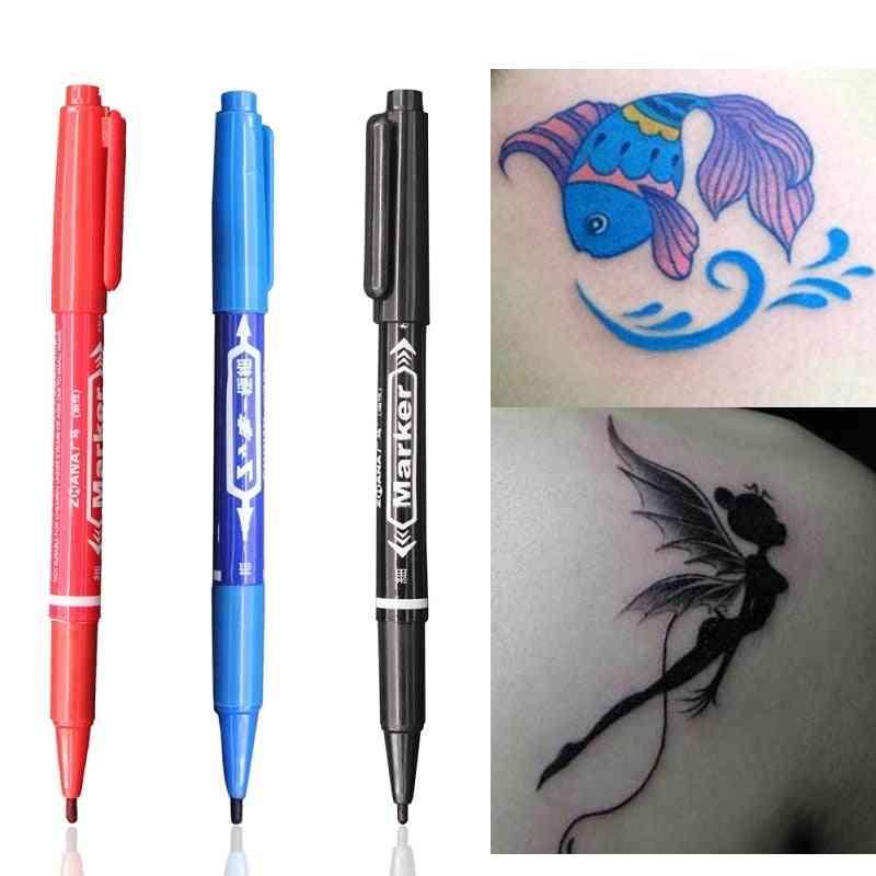 Tattoo Marker Pen Skin Marker - Eyebrow & Body Design Tattoo Pen With Waterproof Ink