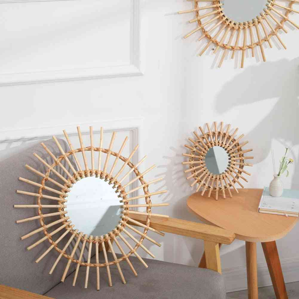Rattan Compact Clear Round Space Saving Wall Hanging Mirror - Portable Interior Art Decor