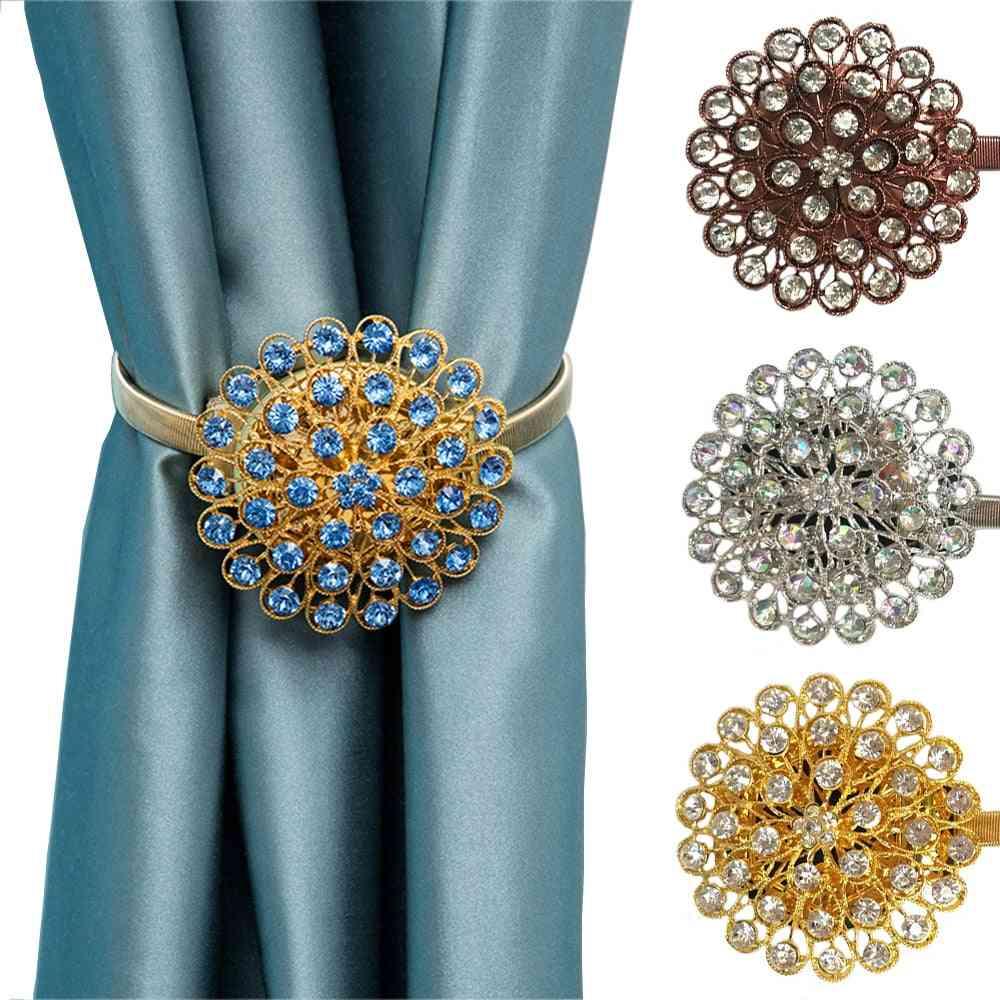 Rhinestone Flower Design Magnetic Curtain Decorative Window Screening Tieback Retractable Metal Curtains Holder