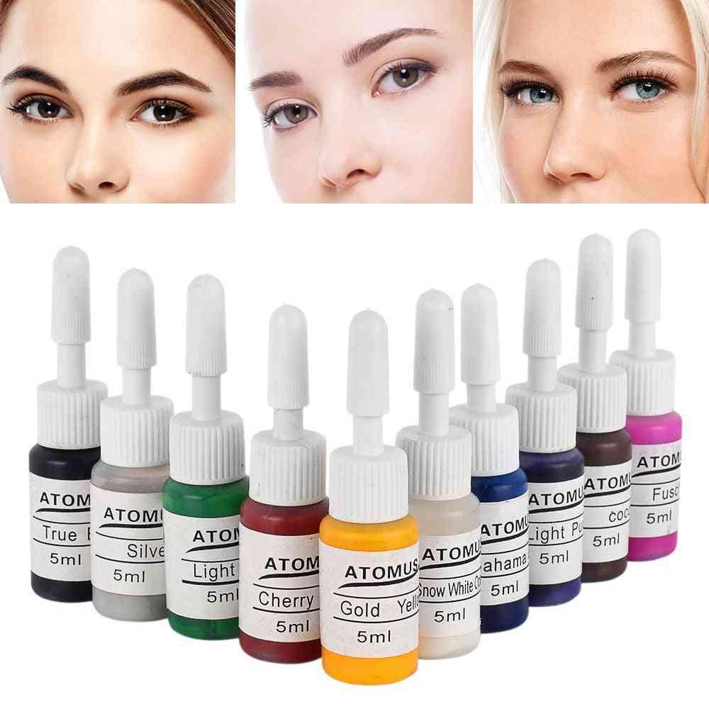 Permanent Eyebrow, Eyeliner Makeup - Micro Tattoo Color Ink Pigments, Body Art Pigment
