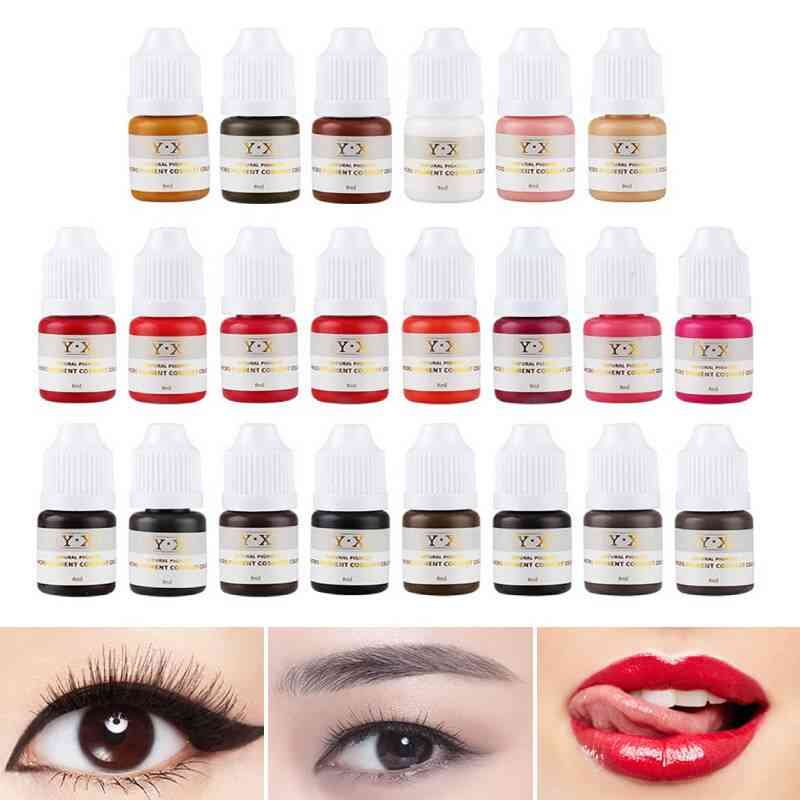 Semi Permanent Tattoo Pigment Ink - Eyebrow, Lip, Eye Line Pigment Coloring Cream Ink For Semi Permanent Body Paint Makeup