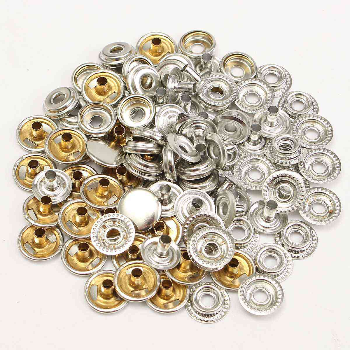 Stainless Steel Fastener Snap Press Stud Buttons - Marine Boat Canvas Leather Craft Silver Buttons