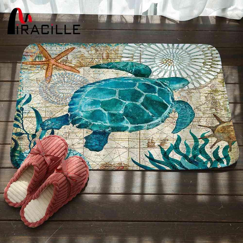 Marine Style Door Mat Floor Carpet For Living Room - Coral Fleece Rug, Anti Slip Doormat