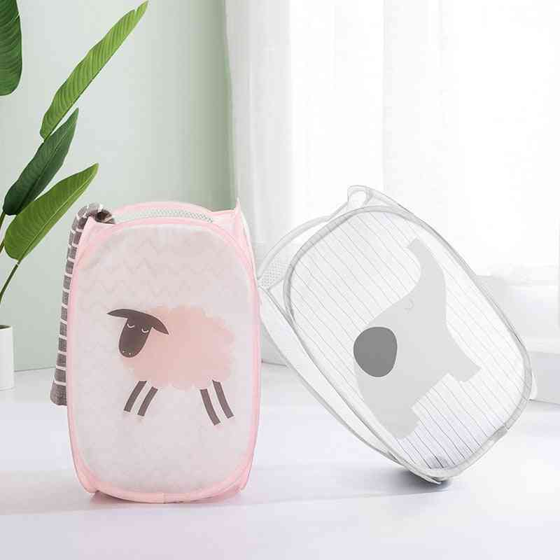 Home Foldable Clothes Storage Baskets - Mesh Washing Dirty Clothes Laundry Basket