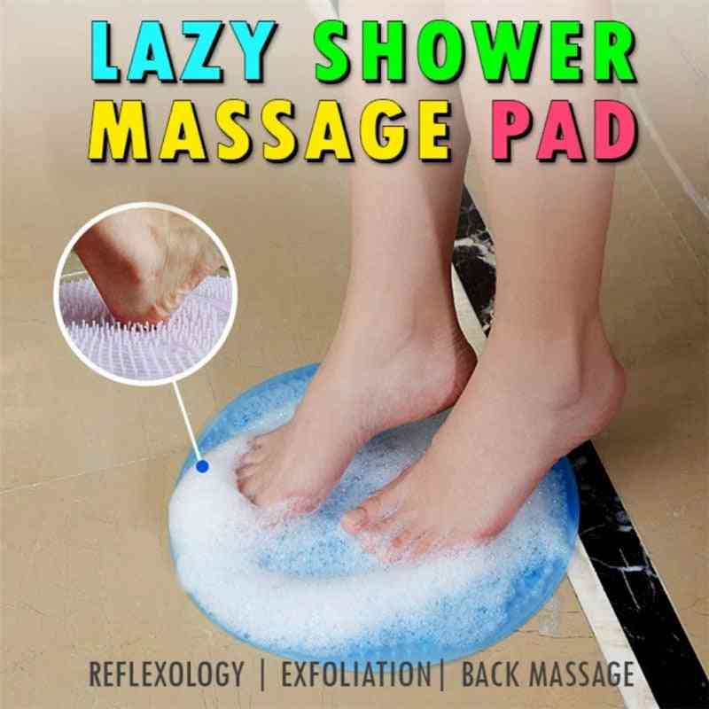 Silicone Bath Shower Back Brush Foot Massager For Dead Skin - Anti Skid Pad For Sole Cleaning And Massage