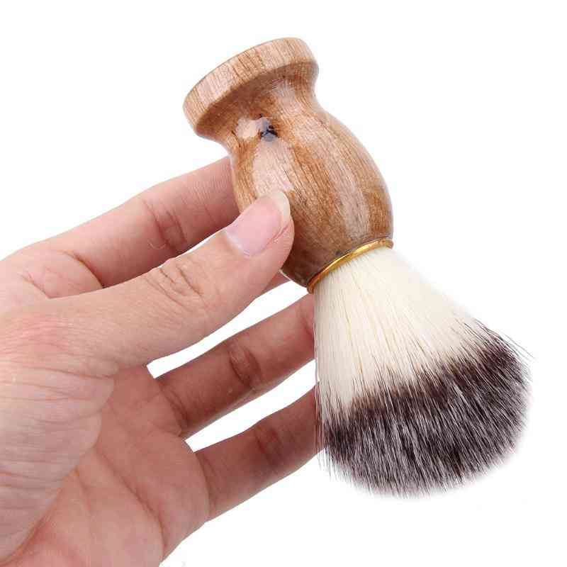 Men Shaving Brush Badger Hair Shave With Wooden Handle - Facial Beard Cleaning Appliance With High Quality Pro Salon Tool