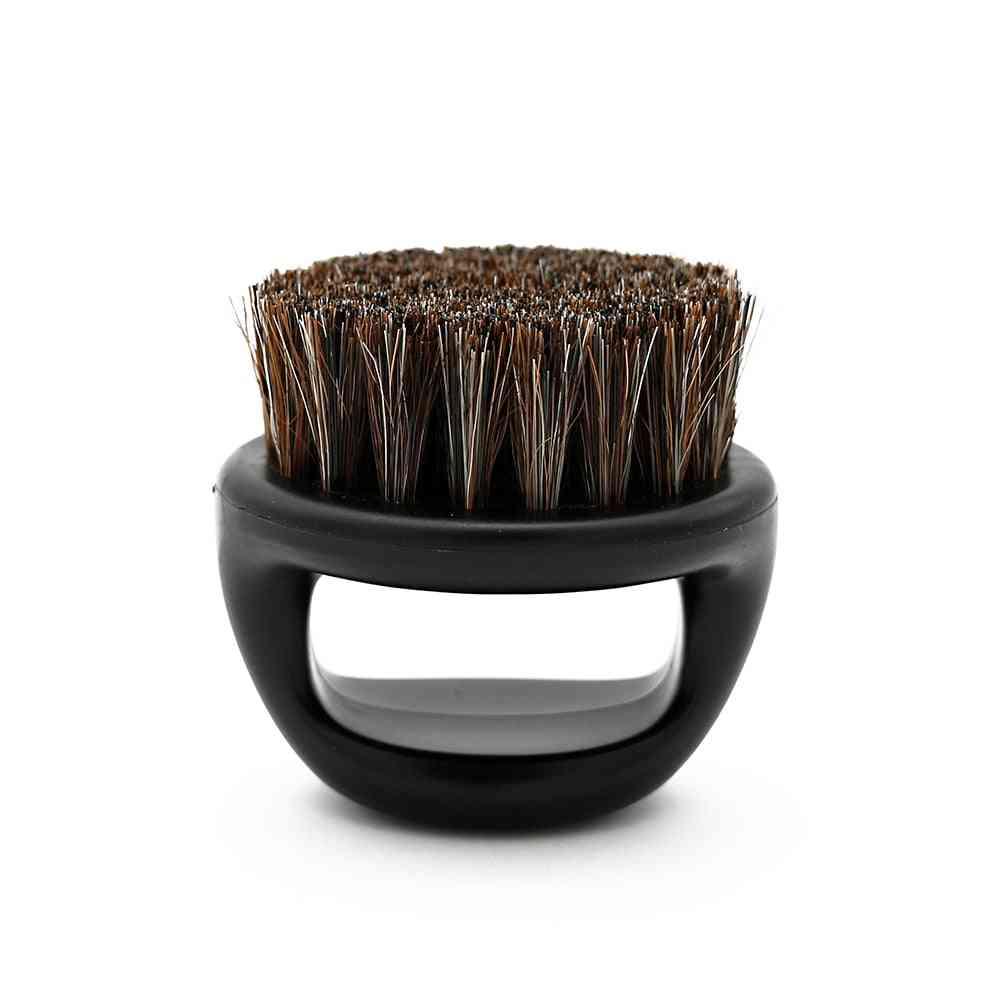 Ring Design Horse Bristle Men Shaving Brush - Plastic Portable Barber Beard Brushes Salon Face Cleaning Razor Brush