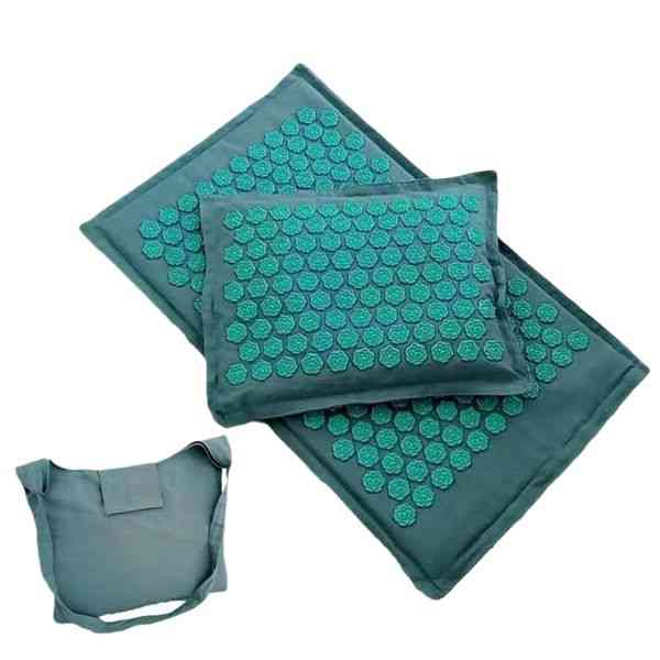 Lotus Spike Acupressure Massage Mat And Pillow Set - Yoga Acupuncture Muscle Pain Relieve Body Massage Mat