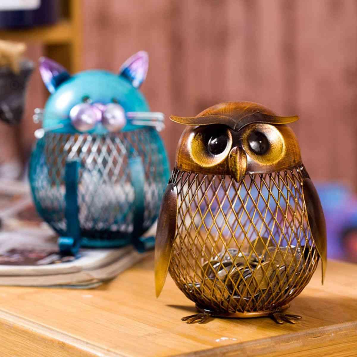 Cute Metal Animal Bird Grid Pot Piggy Bank - Home Decoration Money Boxes