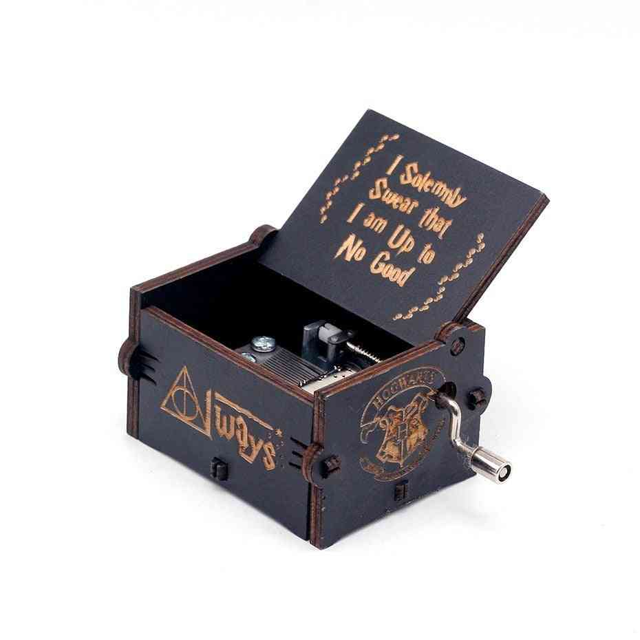 Antique Carved Wooden Hand Crank -music Box