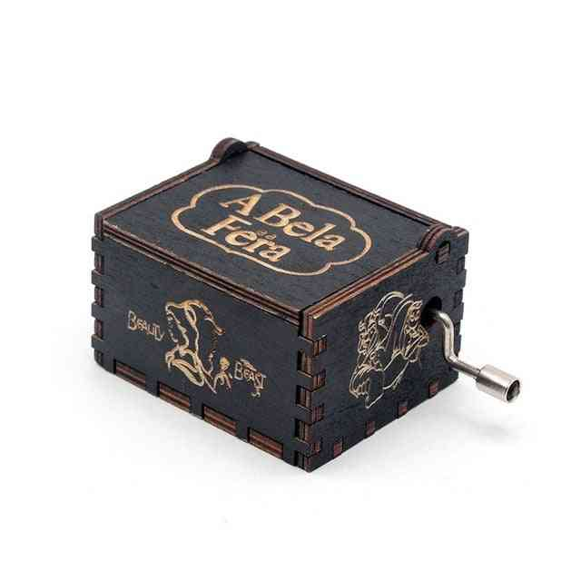 Beauty And The Beast Hand Crank Vintage Engraved Wooden Music Box