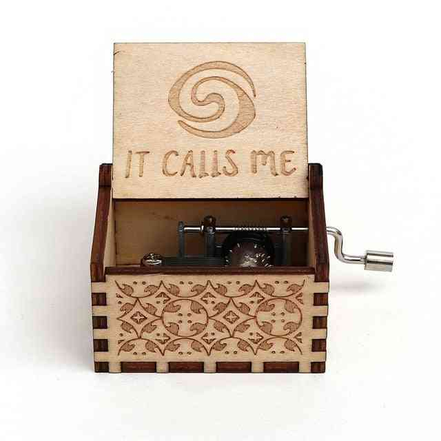 Moana Hand Crank Carved Wooden Music Box - Play The Theme Song Of Moana
