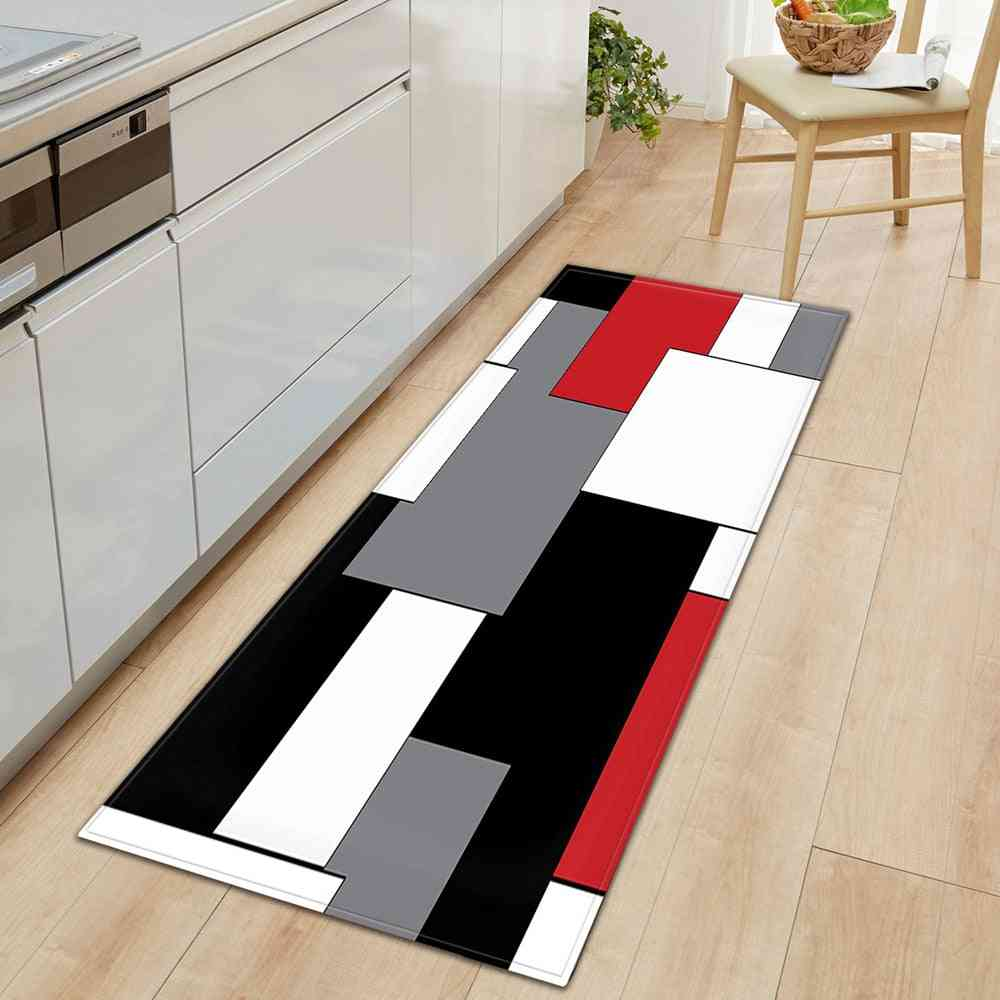 Modern 3d Pattern Long Strip Kitchen Mat - Home Floor Decoration Living Room Carpet, Bathroom Non-slip Rug