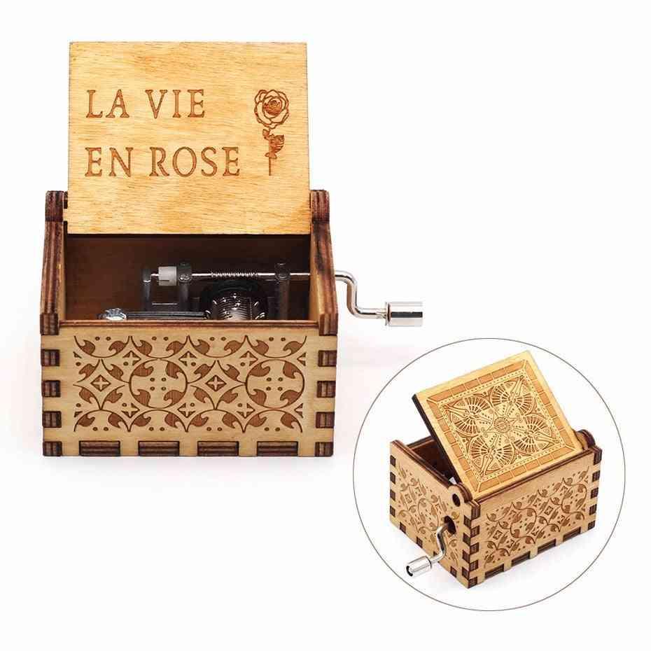 La Vie En Rose Carved Hand Crank Wooden Classic Musical Box
