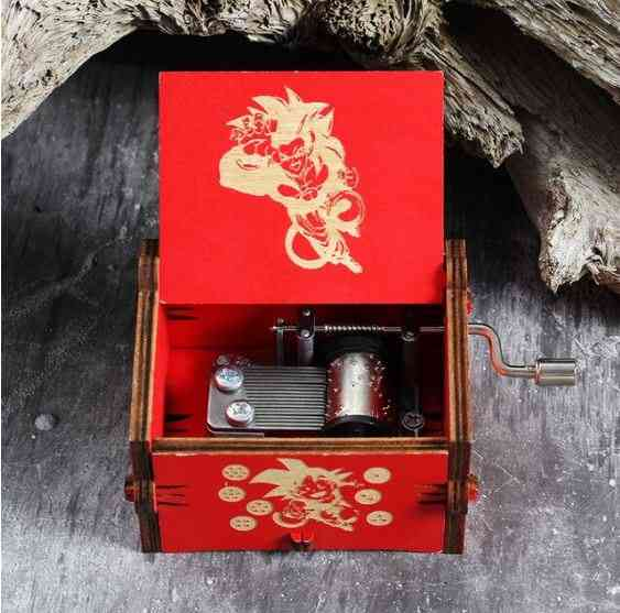 Dragon Ball Engraved Wooden Antique Hand-cranked Music Box
