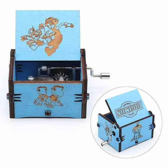 Digimon Antique Carved Blue Wooden Music Box