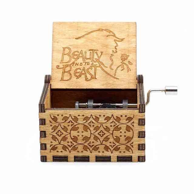 Beauty And The Beast Wooden Engraved Hand Crank Classic Music Box
