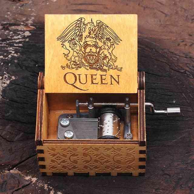 Bohemian Rhapsody Queen Engraved Hand Crank Laser Vintage Wooden Music Box For Wedding, Valentine, Christmas, Birthday