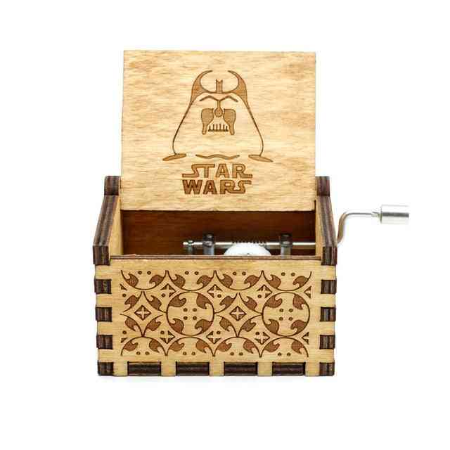 Star Wars Hand Crank Antique Carved Wooden Musical Box - Musical Collections, Wood Musical Decoration