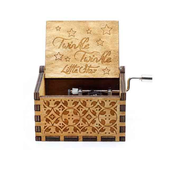 Twinkle Twinkle Little Star Engraved Wooden Hand Crank Music Box
