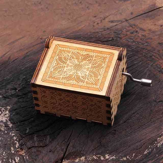 Harry Potter Natural Hand Crank Antique Carved Creative Wooden Music Box