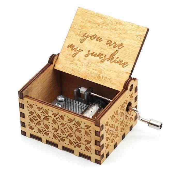You Are My Sunshine-engraved, Hand Crank Wooden Music Box