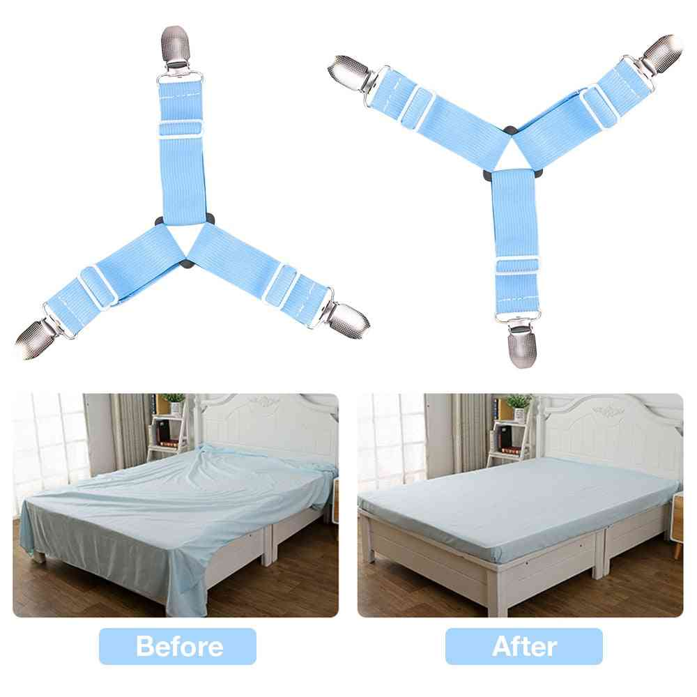 Strong & Adjustable Elastic Clip Gripper, Fastened Straps For Bed Sheets