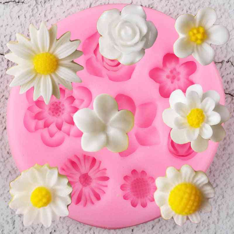 Flower Silicone Mold - Plumeria, Rose, Daisy Chocolate Candy Diy Topper Fondant Cake Decorating Mold