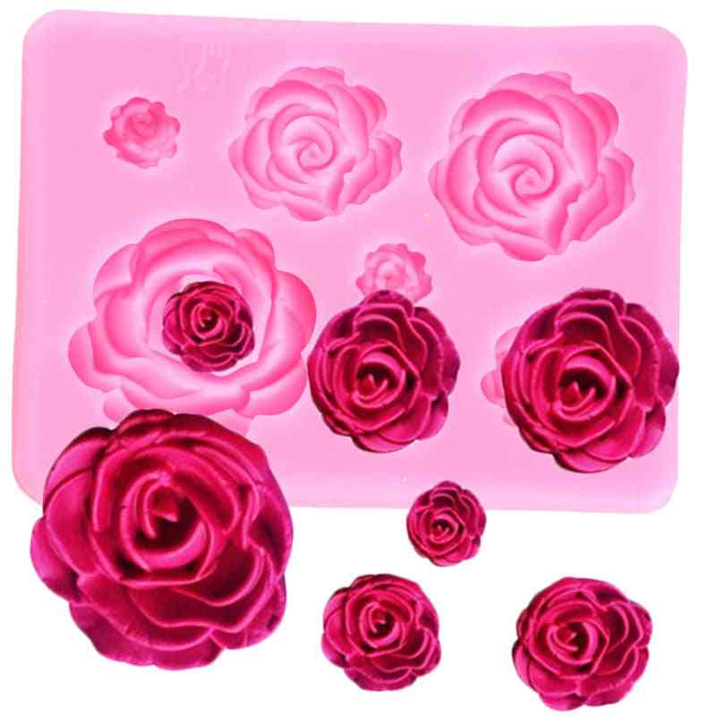 Rose Flower Silicone Mold - Wedding Cupcake Topper Fondant Cake Decorating