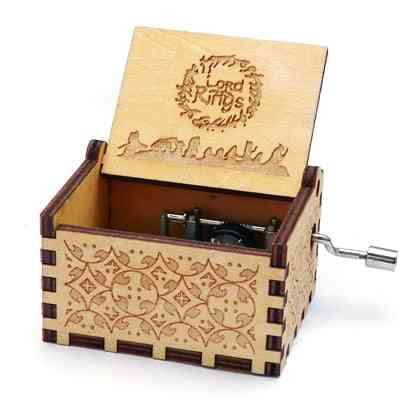 Lord Of The Rings Theme-antique Carved, Hand Cranked Wooden Music Box