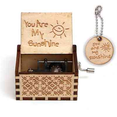 You Are My Sunshine Engraved-antique, Hand Cranked Wooden Music Box