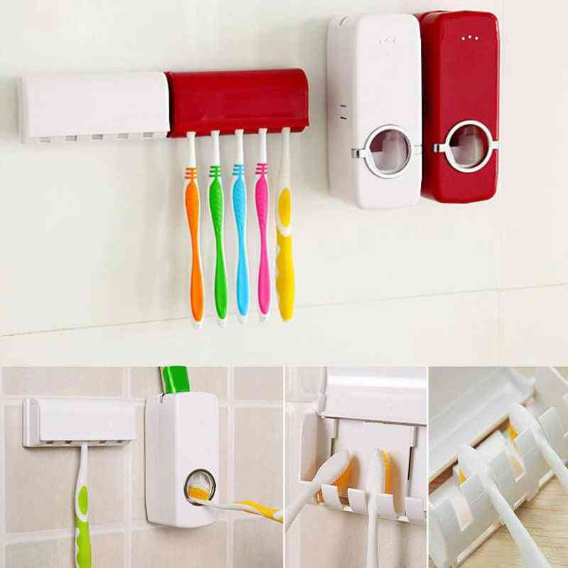 Wall Mount, Automatic Toothpaste Squeezer And Toothbrush Holder
