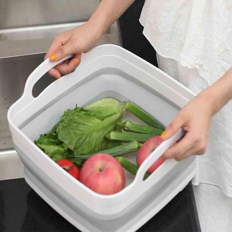 Folding Square Fruit, Vegetable, Washing Washbasin For Kitchen, Travel, Outdoor