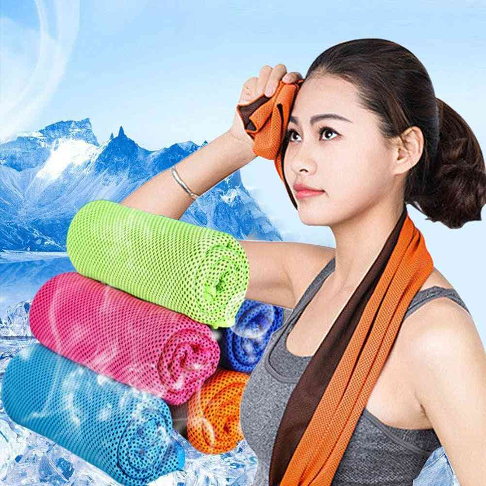 Outdoor Sports Rapid Instant Cooling Microfiber Quick Dry Ice Towels - Fitness, Yoga, Gym, Running Wipe Sweat Chill Towels