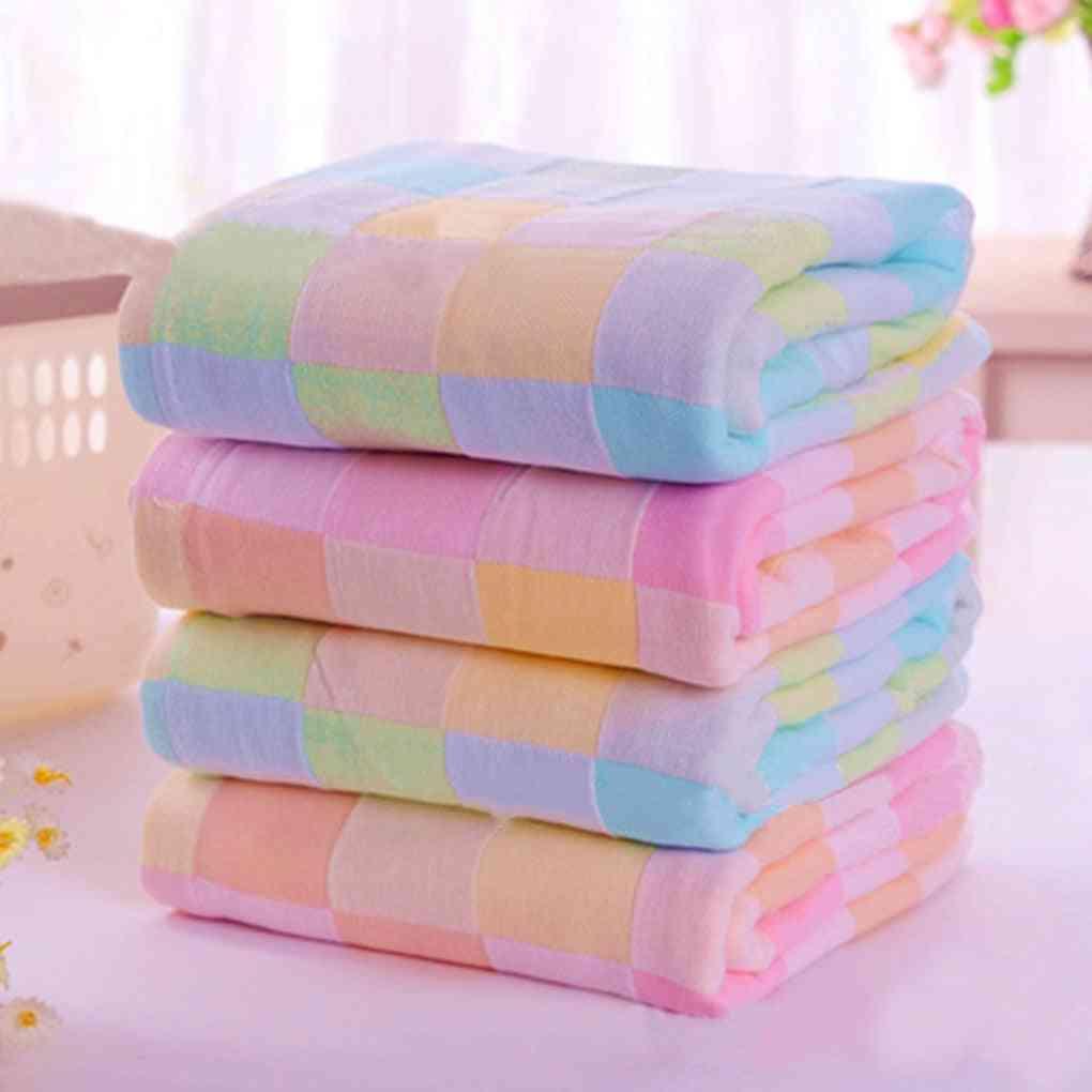 Square Design, Cotton Gauze, Plaid Towel For Daily Use
