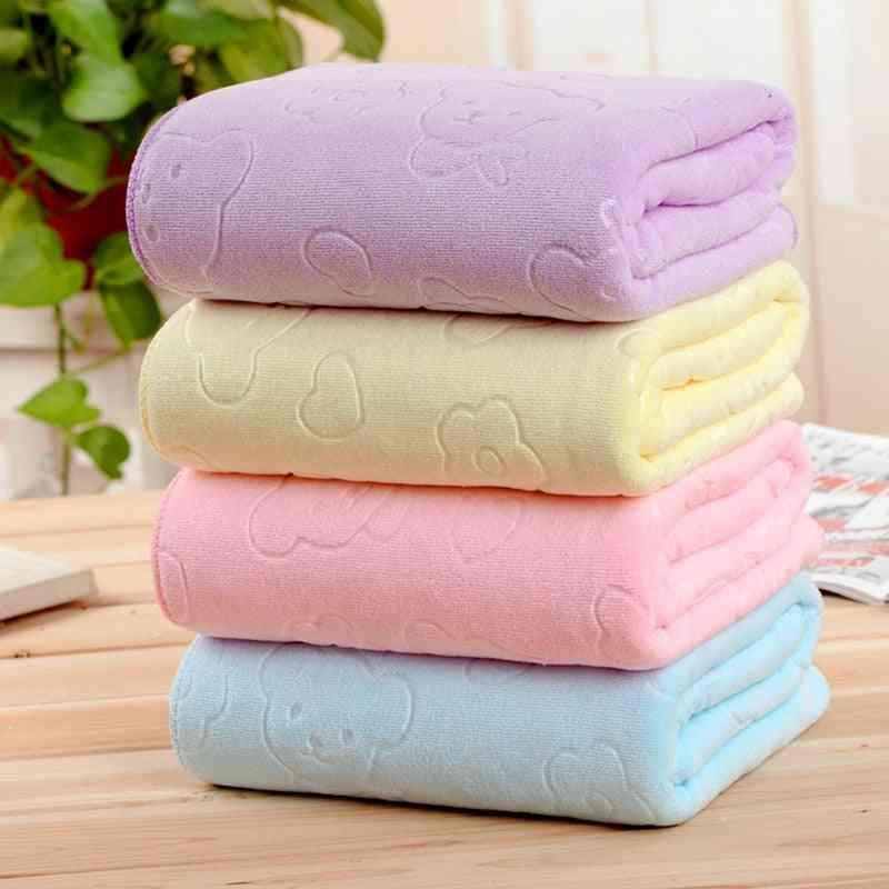 Solid Color Microfiber Absorbent Soft Bath Shower Towel
