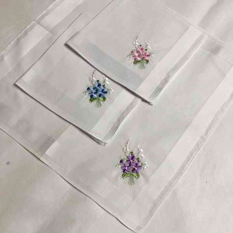 Vintage Floral Embroidered, Square Shape Cotton Handkerchief