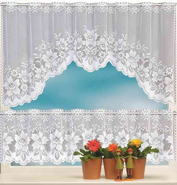 European White Translucent Lace Sheer Curtains - Tulle Lace Sheer Jacquard Bedroom Curtains