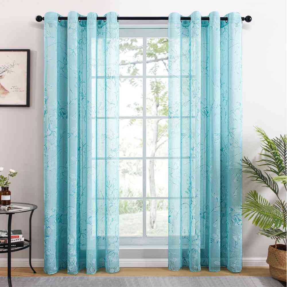 Flower Pattern Tulle/sheer Curtains For Living Room, Bedroom, Kitchen - Modern Flowers Window Voile Drapes