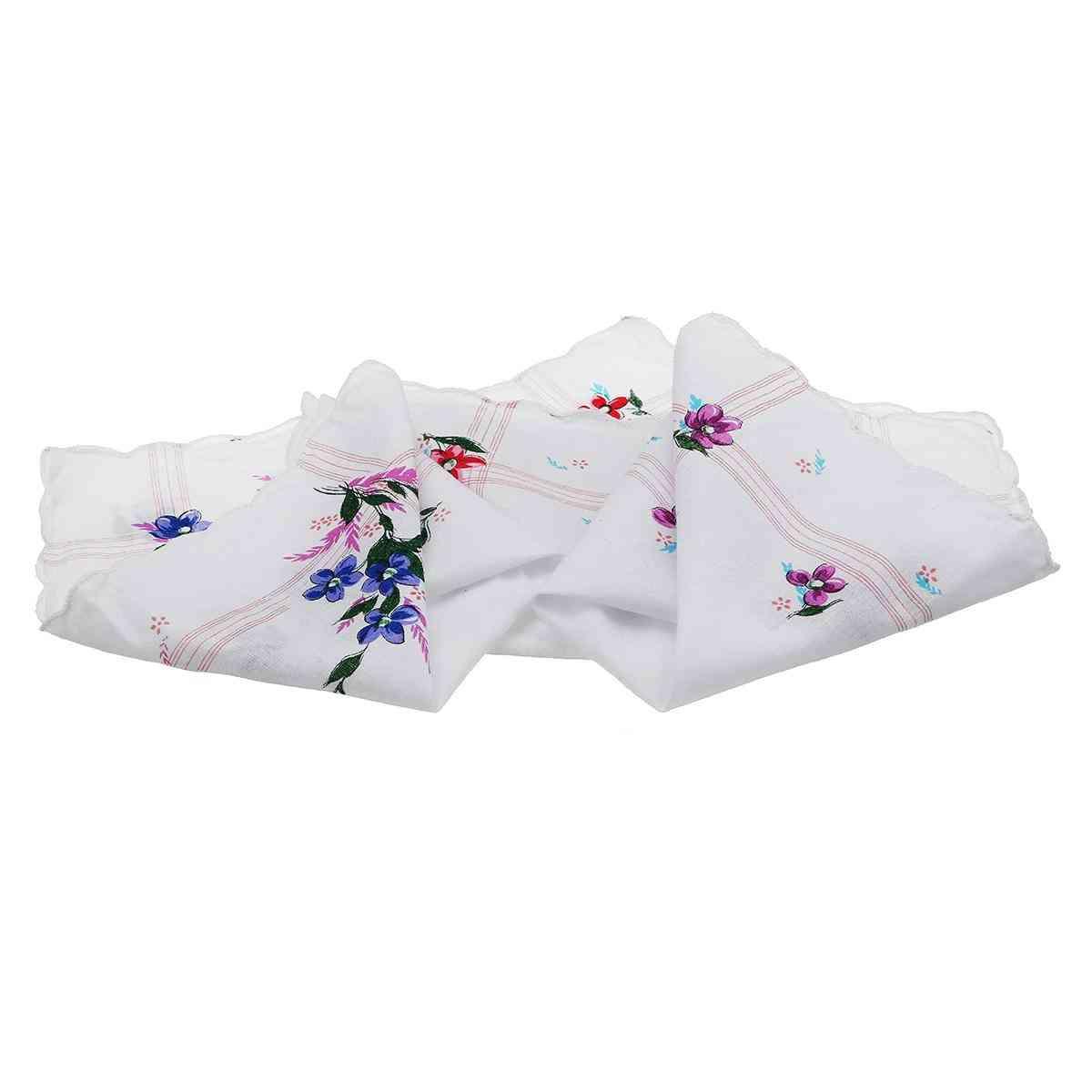 Vintage Design Cotton Square Floral Handkerchief - Women Portable Napkin