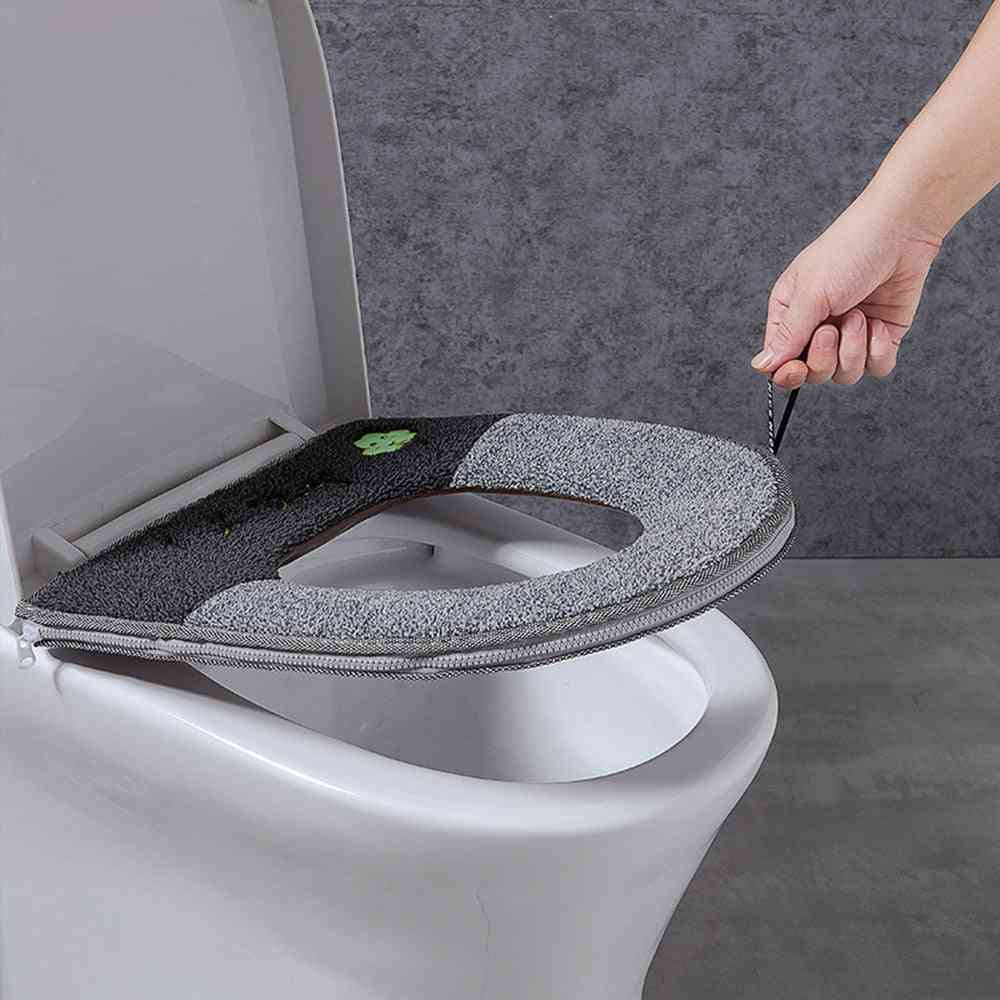 Universal Warm Soft & Washable Toilet Seat Cover, Mat Set For Bathroom