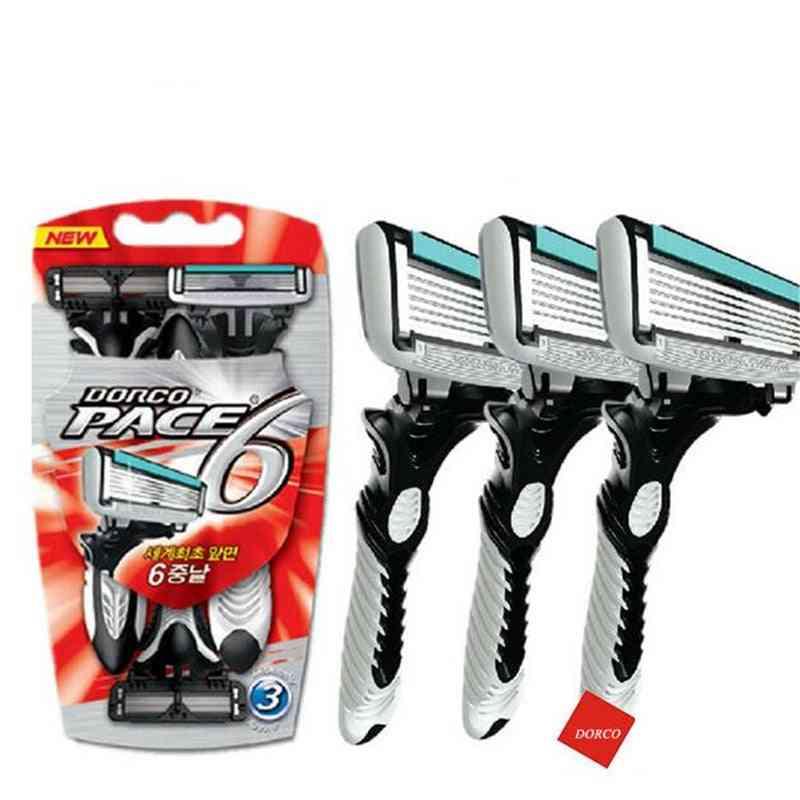 Electric Shaver Pace 6 Layer Straight Razor Beard Machine, Men's Razor Blade Shaving Cassettes