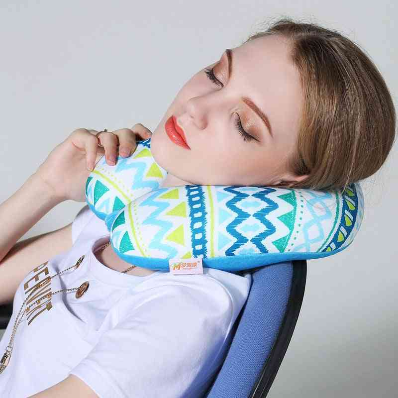 U Shaped Nanoparticles Neck Support Headrest Health Care Cushion - Airplane Flight Foam Particles Pillow For Travel